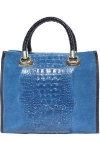 Δερμάτινη Τσαντα Tote Χειρος Firenze Leather 7004 Σκουρο Μπλε