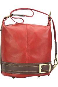 Γυναικεια Δερματινη Τσαντα Ωμου Caterina Firenze Leather 300 Κόκκινο/Καφε