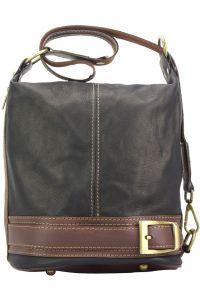Γυναικεια Δερματινη Τσαντα Ωμου Caterina Firenze Leather 300 Μαύρο/Καφε