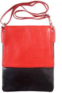 Δερματινη Τσαντα Ωμου Vala Firenze Leather 416 Μαύρο/Κόκκινο