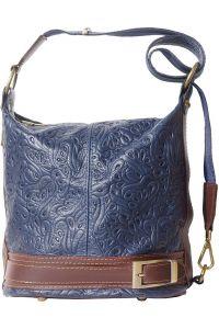 Δερμάτινη Τσάντα Ωμου Caterina Firenze Leather 300S Σκουρο Μπλε/Καφε