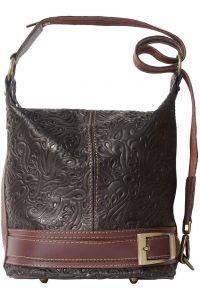 Δερμάτινη Τσάντα Ωμου Caterina Firenze Leather 300S Μαύρο Καφε 2432714b7cd