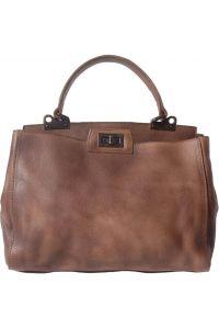 Δερμάτινη Τσάντα Χειρός Peekaboo Firenze Leather 68021 Καφε