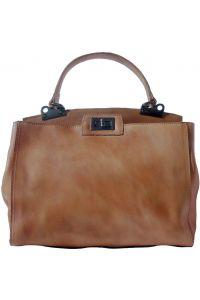 Δερμάτινη Τσάντα Χειρός Peekaboo Firenze Leather 68021 Σκουρο Μπεζ