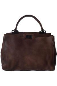 Δερμάτινη Τσάντα Χειρός Peekaboo Firenze Leather 68021 Σκουρο Καφε