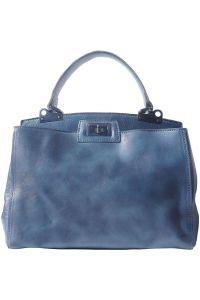 Δερμάτινη Τσάντα Χειρός Peekaboo Firenze Leather 68021 Σκουρο Μπλε