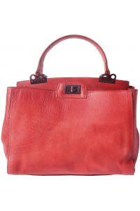 Δερμάτινη Τσάντα Χειρός Peekaboo Firenze Leather 68021 Κόκκινο