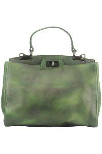 Δερμάτινη Τσάντα Χειρός Peekaboo Firenze Leather 68021 Σκουρο Πρασινο