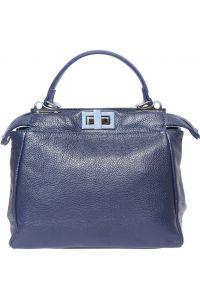 Δερμάτινη Τσαντα Χειρος Clelia Firenze Leather 9141 Σκουρο Μπλε