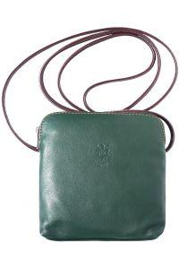 Δερματινο Τσαντακι Ωμου Mia Firenze Leather 8609 Σκουρο Πρασινο/Καφε