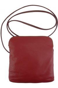Δερματινο Τσαντακι Ωμου Mia Firenze Leather 8609 Κόκκινο/Καφε