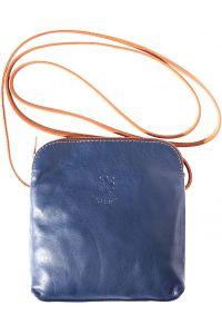 Δερματινο Τσαντακι Ωμου Mia Firenze Leather 8609 Σκουρο Μπλε/Μπεζ