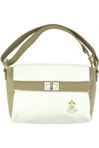 Δερματινη Τσαντα Χειρος Fatima Firenze Leather 9114 Λευκο/Μπεζ Σκουρο