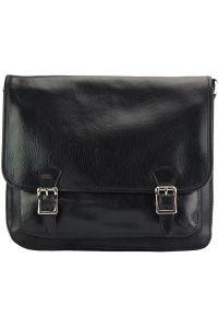 Δερματινη Τσαντα Ταχυδρομου Palmira Firenze Leather 7605 Μαύρο