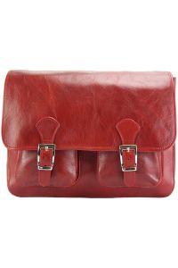 Δερματινη Τσαντα Ταχυδρομου Pamela Firenze Leather 7609 Σκουρο Κόκκινο