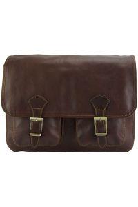 Δερματινη Τσαντα Ταχυδρομου Pamela Firenze Leather 7609 Σκουρο Καφε