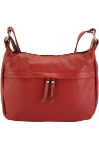 Δερμάτινη Τσάντα Ωμου Delizia Firenze Leather 9112 Σκουρο Κόκκινο