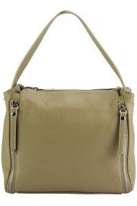 Δερμάτινη Τσάντα Χειρός Giuseppina Firenze Leather 9110 Ανοιχτό Μπεζ/Γκρι