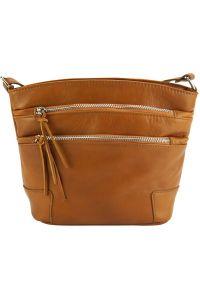Δερματινο Τσαντακι Ωμου Arianna Firenze Leather 6119 Camel
