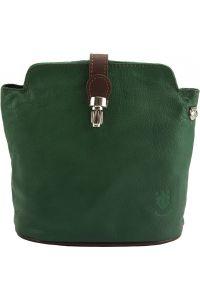 Δερματινο Τσαντακι Ωμου Clara Firenze Leather 402 Σκουρο Πρασινο/Καφε