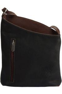 Δερματινη Τσαντα Ωμου Miriam Firenze Leather 407 Μαύρο/Καφε