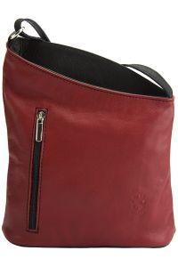 Δερματινη Τσαντα Ωμου Miriam Firenze Leather 407 Κόκκινο/Μαύρο