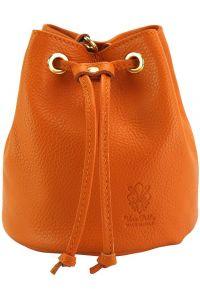 Δερματινη Τσαντα Ωμου Ilaria Firenze Leather 9124 Πορτοκαλι