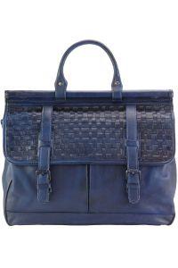 Δερματινος Χαρτοφυλακας Florine Firenze Leather 68155 Σκουρο Μπλε