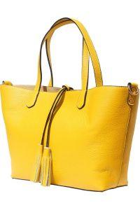 Δερματινη Τσαντα Ωμου Belinda Firenze Leather 8063 Κιτρινο
