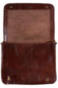 Δερματινη Τσαντα Ταχυδρομου Mirko GM Firenze Leather 6517 Σκουρο Καφε