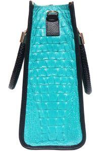 Δερμάτινη Τσαντα Tote Χειρος Firenze Leather 7004 Τυρκουαζ