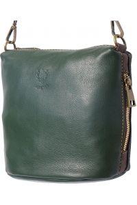 Γυναικειο Δερματινο Τσαντακι Felicita Firenze Leather 8620 Σκουρο Πρασινο/Καφε