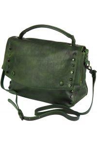 Δερματινη Τσαντα Ταχυδρομου Natalina Firenze Leather 68116 Σκουρο Πρασινο