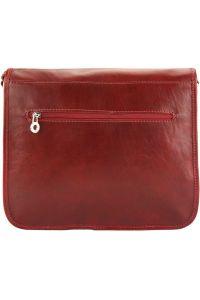 Δερματινη Τσαντα Ταχυδρομου Palmira Firenze Leather 7605 Σκουρο Κόκκινο