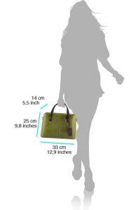 Δερμάτινη Τσάντα Χειρός Vanessa Firenze Leather 7005 Σκουρο Γκρι
