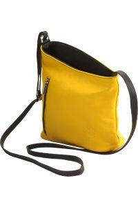 Δερματινη Τσαντα Ωμου Miriam Firenze Leather 407 Κιτρινο/Καφε