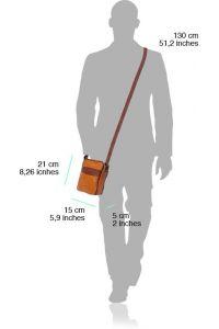 Ανδρικο Δερματινο Τσαντακι Ωμου Firenze Leather B032 Σκουρο Γαλαζιο/Μπεζ