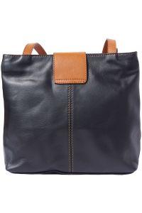 Τσαντα Ωμου Δερματινη Filomena Firenze Leather 015 Μαύρο/Μπεζ