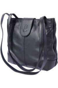 Τσαντα Ωμου Δερματινη Filomena Firenze Leather 015 Μαύρο