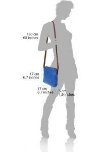 Δερματινο Τσαντακι Ωμου Mia Firenze Leather 8609 Μωβ/Μπεζ