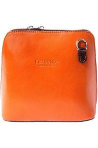 Δερματινο Τσαντακι Ωμου Dalida Firenze Leather 201 Πορτοκαλι/Σκουρο Καφε