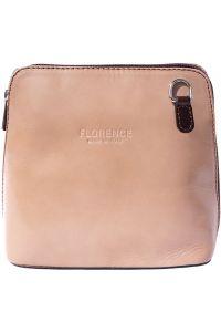 Δερματινο Τσαντακι Ωμου Dalida Firenze Leather 201 Μπεζ/Σκουρο Καφε