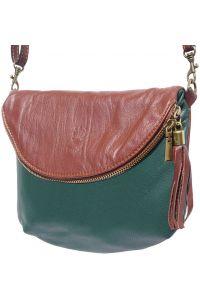 Δερματινο Γυναικειο Τσαντακι Rachele Firenze Leather 6120 Σκουρο Πρασινο/Καφε