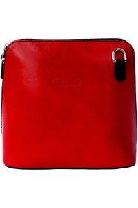 Δερματινο Τσαντακι Ωμου Dalida Firenze Leather 201 Κόκκινο/Μαύρο