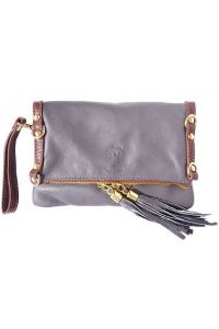 Δερμάτινο Τσαντακι Clutch Giorgia Firenze Leather 9606 Γκρι/Καφε
