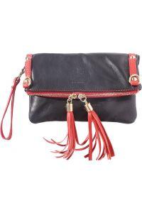 Δερμάτινο Τσαντακι Clutch Giorgia Firenze Leather 9606 Μαύρο/Κόκκινο