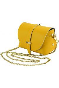 Δερματινο Τσαντακι Ωμου Martina Firenze Leather 8054 Κιτρινο