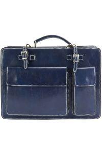 Γυναικειος Δερματινος Χαρτοφυλακας Daniele GM Firenze Leather 7633 Σκουρο Μπλε