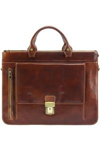 Δερματινος Χαρτοφυλακας Donato Firenze Leather 7634 Καφε