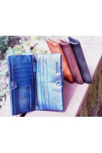 Γυναικειο Δερματινο Πορτοφολι Bernardo Firenze Leather 53801 Σκουρο Μπλε